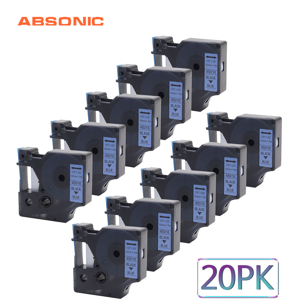 Absonic 20PCS 45016 12mm Ribbon Tapes Cassette DYMO Black on Blue Lablemaker For Dymo LabelManager 160 280 260P 420P PnP PrinterAbsonic 20PCS 45016 12mm Ribbon Tapes Cassette DYMO Black on Blue Lablemaker For Dymo LabelManager 160 280 260P 420P PnP Printer
