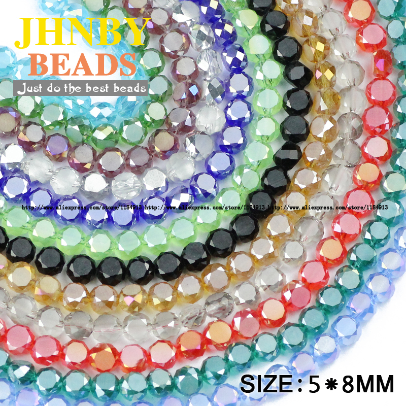 Nice Jhnby Bread Shape Austrian Crystal Beads 50pcs High Quality 5*8mm Matte Glass Flat Round Loose Beads For Jewelry Making Bracelet Jewelry & Accessories