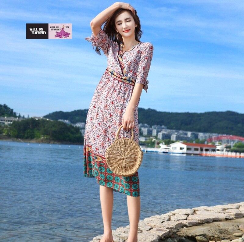 100Seide V Farbe Linie Ausschnitt Halbe Rose Luxus H Kleid A v80yNOmnw