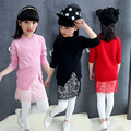 Girls Sweater Dress Autumn 2017 Long Tops Knitwear Lace Girls Clothing Knitted Split Pullover Sweater Back to School Clothes