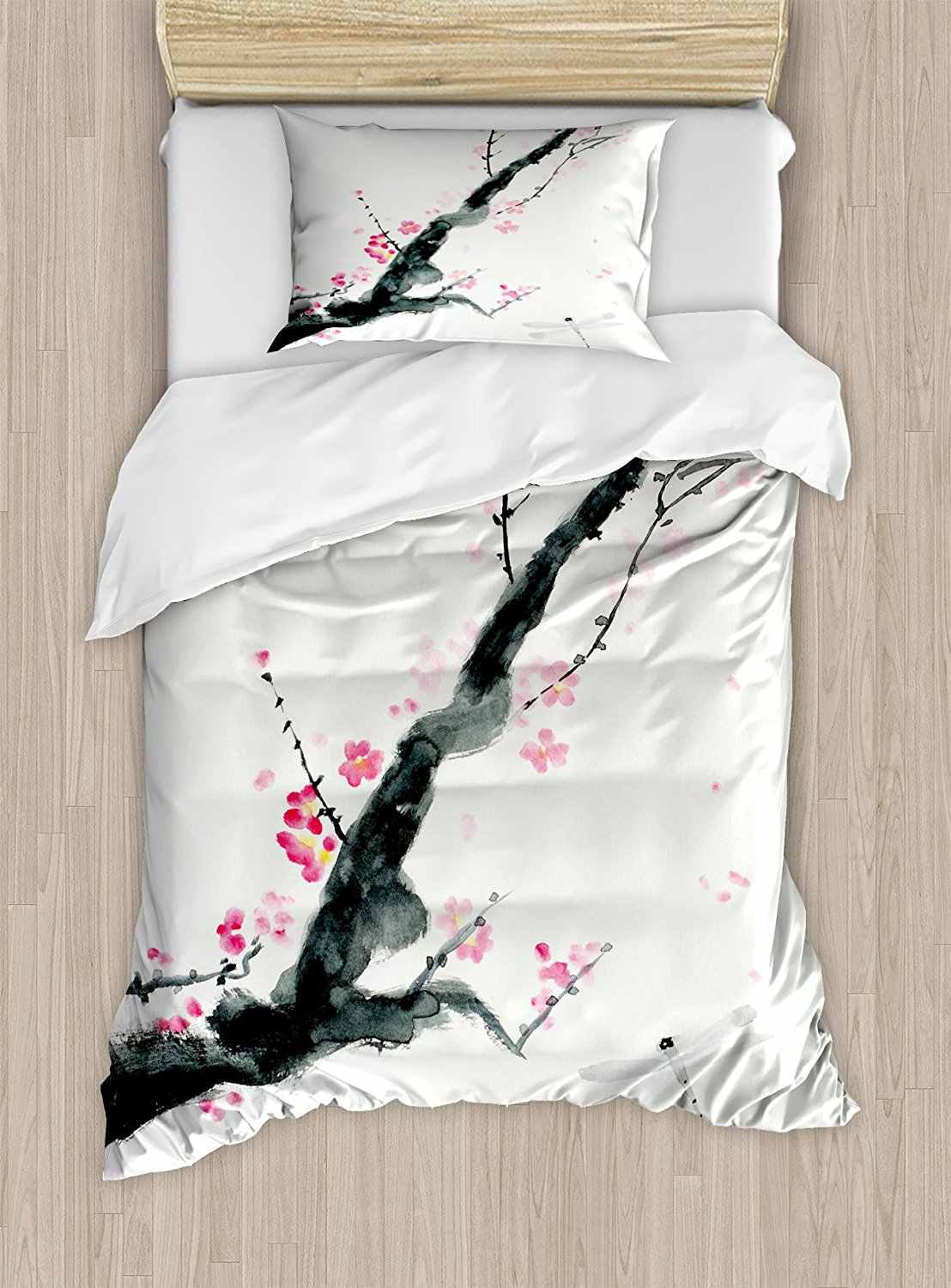 Dragonfly Duvet Cover Set Branch of a Pink Cherry Blossom Sakura Tree Bud and A Dragonfly Dramatic Artisan Decor Bedding Set