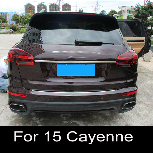 Accessories fit For Porsche Cayenne 2015 2016 Stainless steel Rear trunk lid cover trim garnish car styling for porsche cayenne 2015 stainless steel outer rear bumper foot plate trim 1pcs car styling