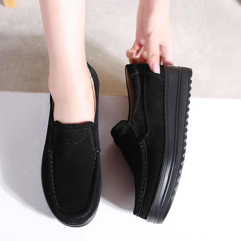 STQ 2020 sonbahar kadın Flats platformu loafer'lar Sneakers ayakkabı kadın deri süet kayma sürüngen rahat mokasen ayakkabı 8714