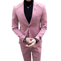 2018 Latest coat pant designs Hot pink tuxedos Slim fit men suit for groomsmen Formal smart casual 2 Pieces blazer + pants