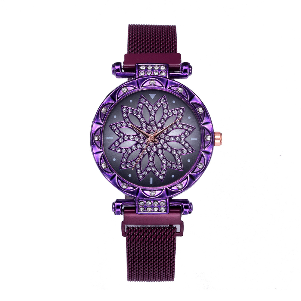 Luxury Diamond Rose Gold Women Magnet Watch Lucky Flower Watch New Women Female Clock Ladies Stainless Steel Quartz Watch xfcs in Women 39 s Watches from Watches