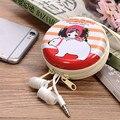 Linda Chica de Dibujos Animados Bolsa de Almacenamiento de Hojalata Caso Bolsa de Transporte Organizador de Escritorio Mini Auricular Del Auricular 4 Colores 1 UNIDS