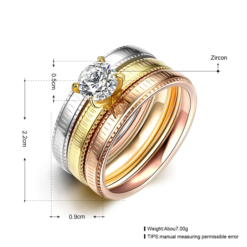 3 PCS/Set CZ Crystal Stainless Steel Wedding Rings For Women Gold ...