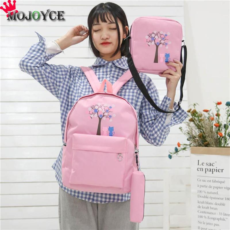 3Pcs/Set Cartoon Printed Canvas Backpacks Students Girls Travel Composite Shoulder Crossbody Schoolbags Mochila Feminina