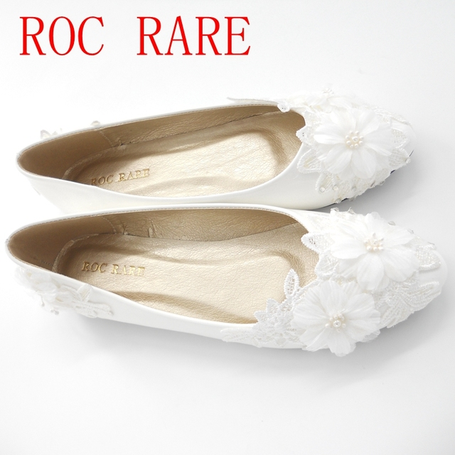 9fde9cae593b1 ROC RARE New White Lace Flowers Wedding Shoes Flat Heels Handmade lace  White Bridal Shoes Bridesmaid Shoes banquet dress