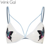 Wink Gal New Sexy Beach Bra For Women Embroidery Bralette Bralet Plunge Unlined Brassiere Hot Lingerie