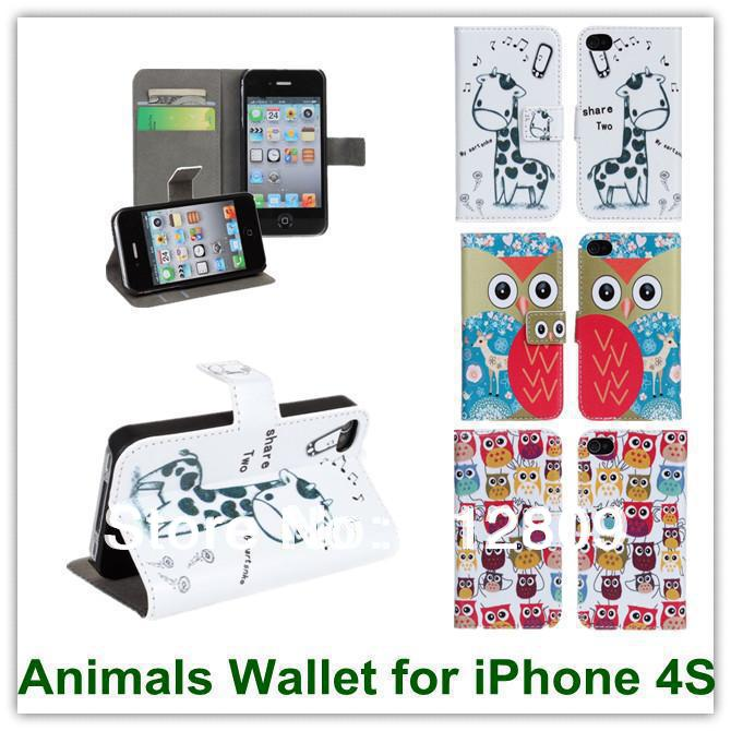 ツ)_/¯Ventas calientes lindo animales patrón cuero Wallet slot stand ...