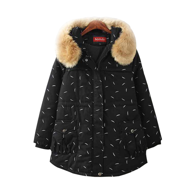 Plus Sizesize XXXXL 2017 Spring Autumn Winter New Fashion Print Fur Collar Thick Down Coat Women Jackets With Hat