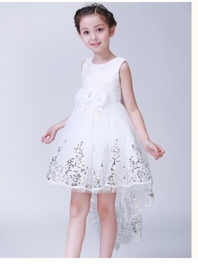 купить Girls Pageant Formal Dresses 2017 Flowers Sequins Bow Fishtail Gowns Girls Princess Tutu Dress Kids Birthday Wedding Dresses дешево