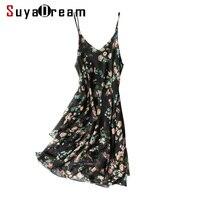 Women Silk Dress 100% REAL SILK Georgette Floral Printed Dresses Spaghetti Strap 2019 Summer V neck Knee Length Dress