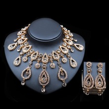 LAN PALACE fashion dubai gold color jewelry necklace and earrings ensemble bijoux  femme gold set india jewelry free shipping