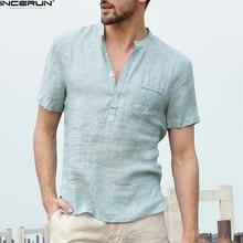 INCERUN Summer Short Sleeve Shirt Men Brand Fashion Shirts Flax Stand Collar Sky Blue Mens Chemise Camisas Masculina