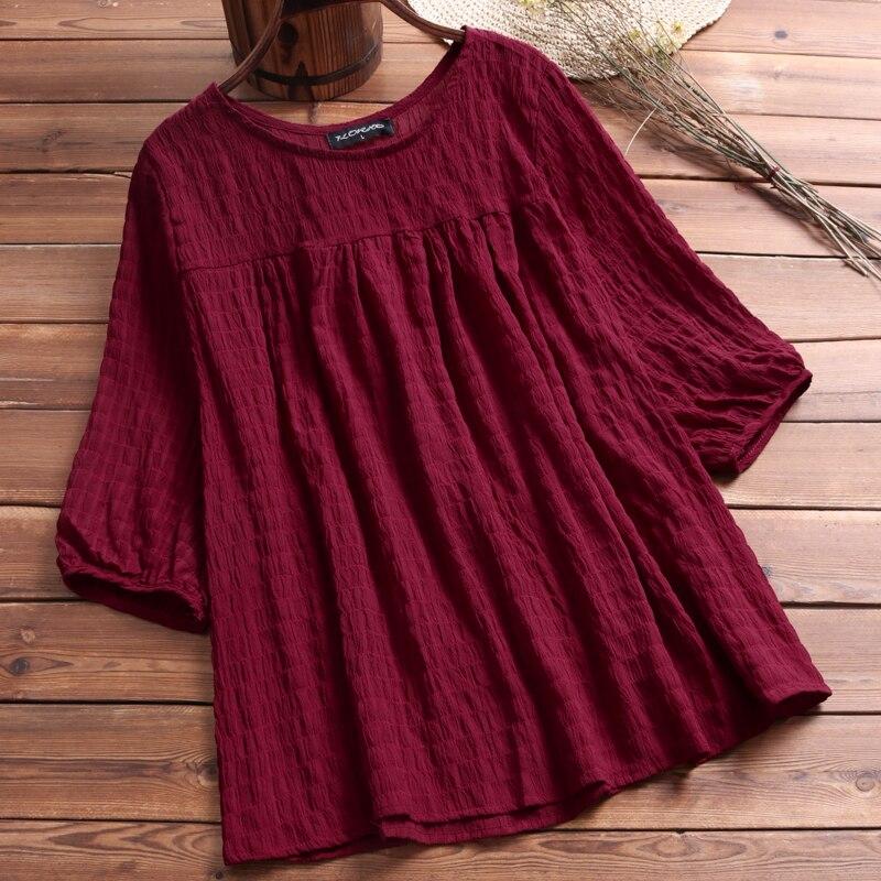 2018 Women Blouse O-Neck Half Sleeve Loose Tops Oversized Casual Fashion Ladies Shirt For Women Blusa Feminina Plus Size L-5XL