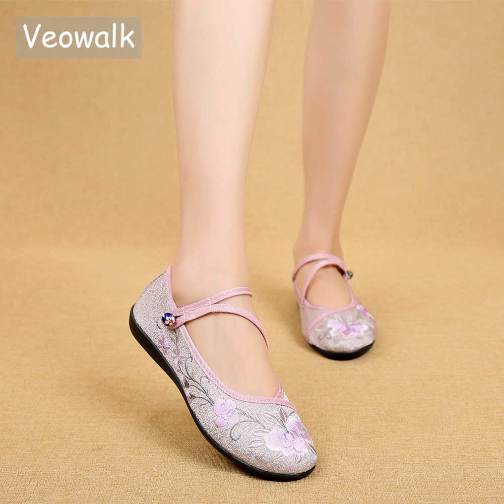 Veowalk Chinese Vintage Flower Embroidered Women Cotton Nurse Ballet Flats Triangle Buckles Ladies Soft Foldable Comfort Shoes