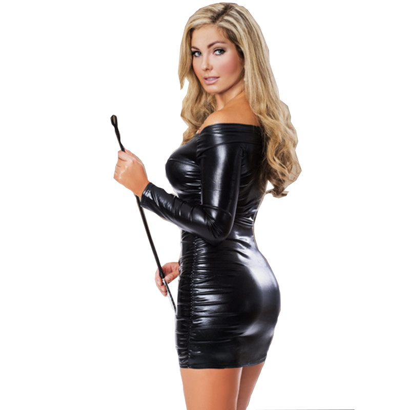 Women's <font><b>Dresses</b></font> Black Wet Look <font><b>PVC</b></font> Vinyl Leather Mini Wrap <font><b>Dress</b></font> Sexy Off Shoulder Long Sleeve Bodycon Clubwear Party <font><b>Dress</b></font> image