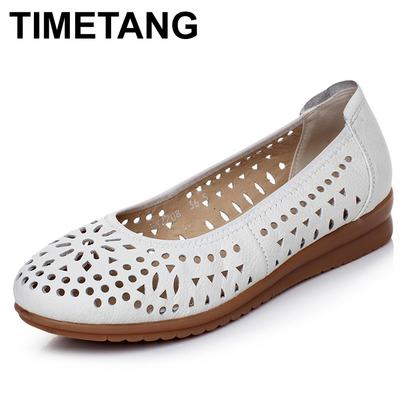 TIMETANG Women Loafers Lady Flat Shoes Woman Summer Flats Hollow Out Comfortable Soft Outsole Genuine Leather Moccasins