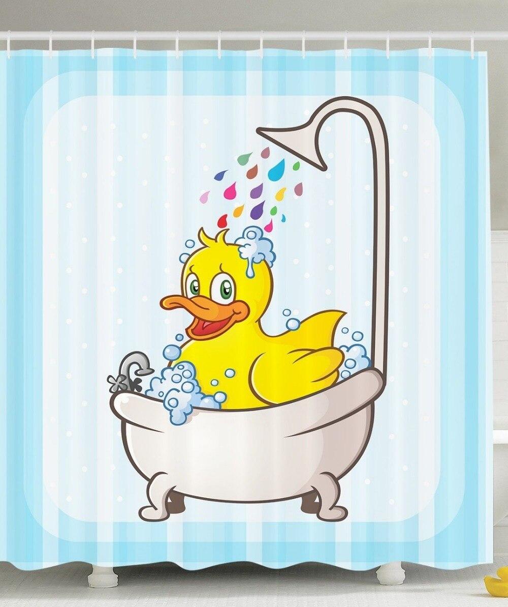 Shower Curtain Cartoon Cute Yellow Rubber Duck Printing