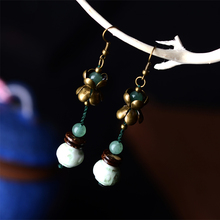 long fashion color glazed white antique drop earrings for women ethnic style wholesale vintage dangle natural stone jewelry