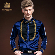 FANZHUAN 2017 Fashion Mens Hawaiian Shirt Long Sleeve Men's Fall Slim Fit Shirt Floral Embroidery Patchwork Blue Shirt Costumes