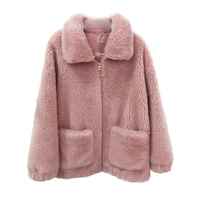 2018 New Winter Coat Women Plus Size Loose Imported Sheep Shearing Fur Coat Real Fur Double faced Real Fur Jacket