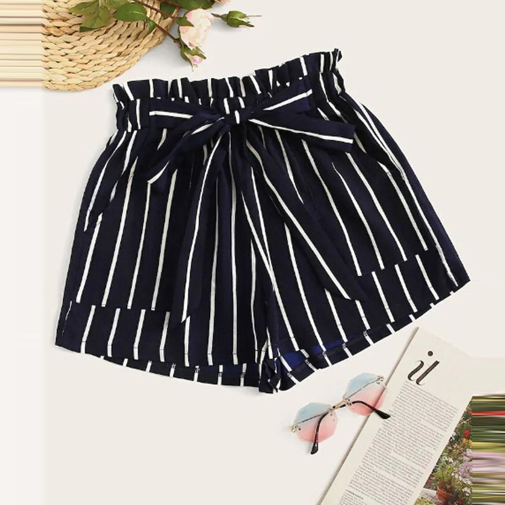 Women's Shorts Summer Harajuku Plus Size High Waist Lace Up Shorts Striped Printed Streetwear Short Feminino Drop Shipping C