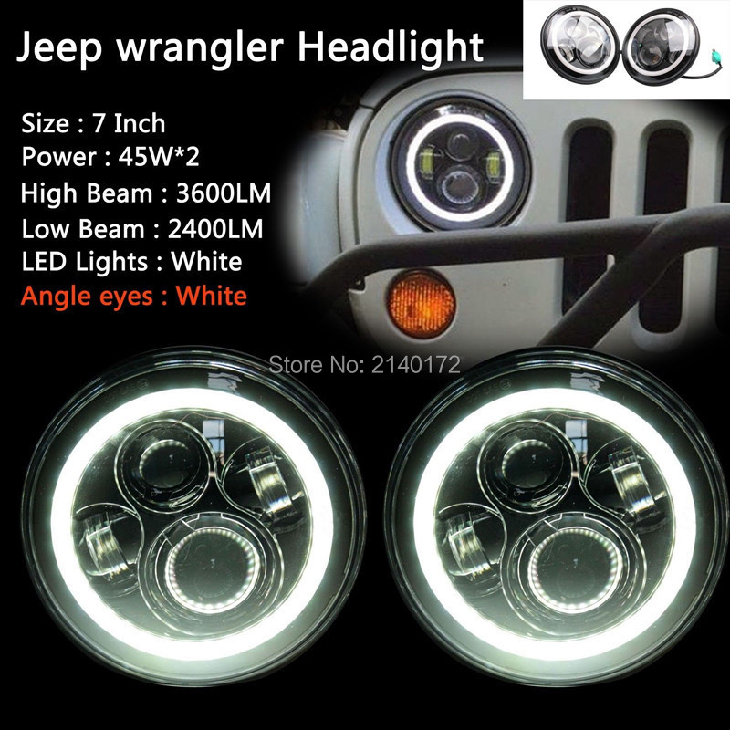 White Halo ring  Angel eyes 40W  LED Headlight for Jeep Wrangler High/Low Projector LED Headlight JK CJ 7'' inch Round Headlamp 1 set black projector headlight 7 inch auto headlamp with halo ring for jeep wrangler unlimited rubicon sahara jk harley