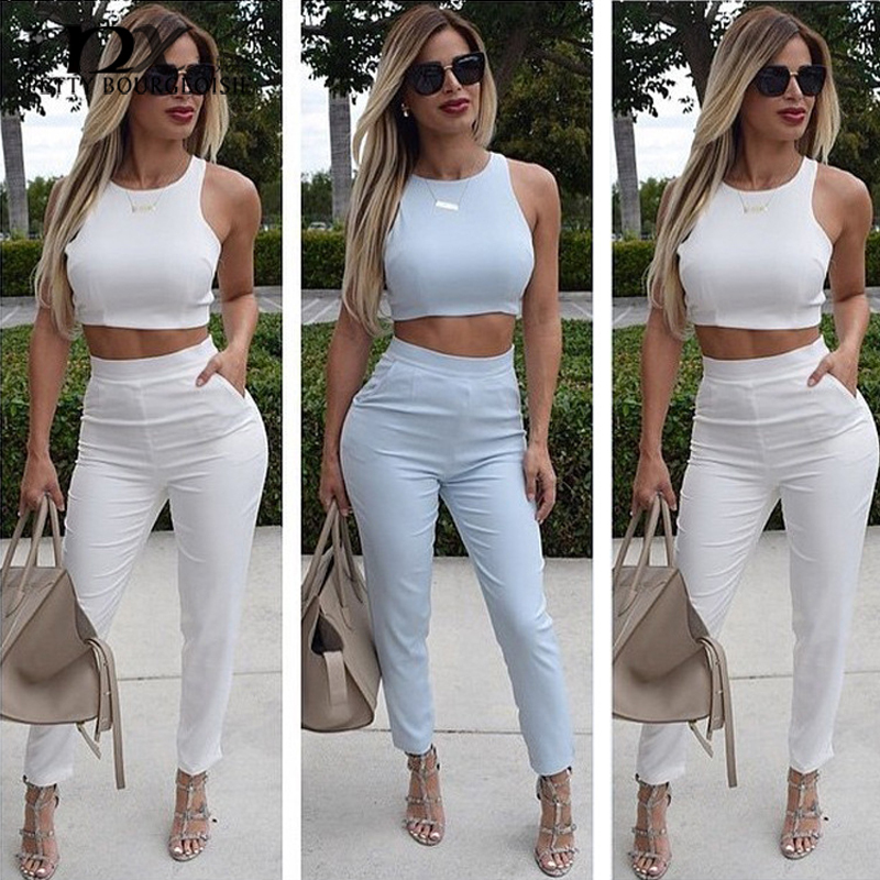 dadb95af1d MNX 2 Piece Casual Set Women Crop Top +Pants High Waisted Elegant chandal  mujer 2015 Pants Sets Tracksuit For Women-in Women's Sets from Women's  Clothing on ...