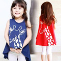 2016 summer paragraph girls dresses sleeveless T-shirt fashion girls Dress fishtail Binbi Bear children vest section T-Shirt