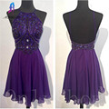 Sexy Purple Beading Cocktail Dresses 2017 Short Chiffon Halter Knee-Length Backless Women Part Evening Gown