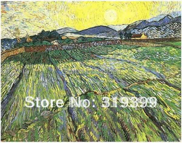 Linen Canvas Oil Painting reproduction,Enclosed Field with Rising Sun by vincent van gogh , 100% handmade,Free DHL Shipping