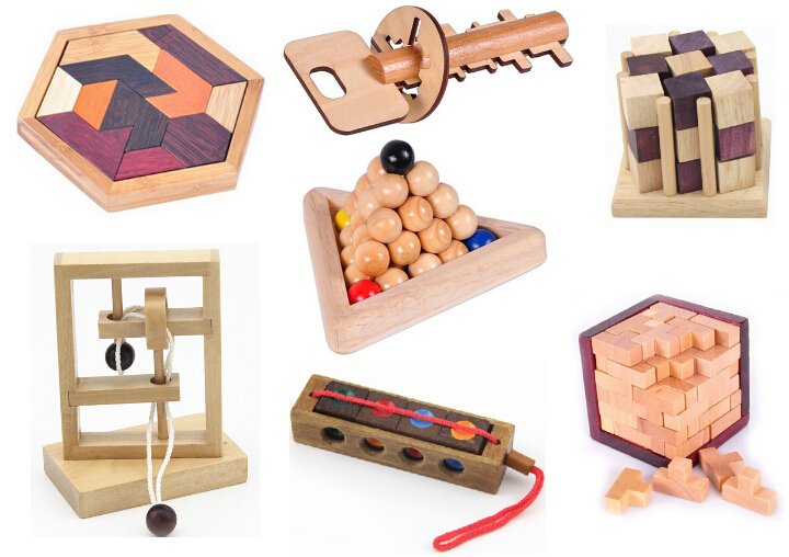 Classic IQ Puzzle Mind Teaser 2D 3D Wooden Puzzle Educational Toys Toys for Adults Children