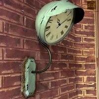 American Retro творческие часы Гостиная висит кованого железа настенные часы Temporizador дома часы Wanduhren металлические часы WKP042