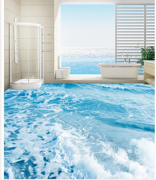 15 Beach Themed Bathroom Design Ideas: Пользовательский фото пол обои 3D стереоскопический