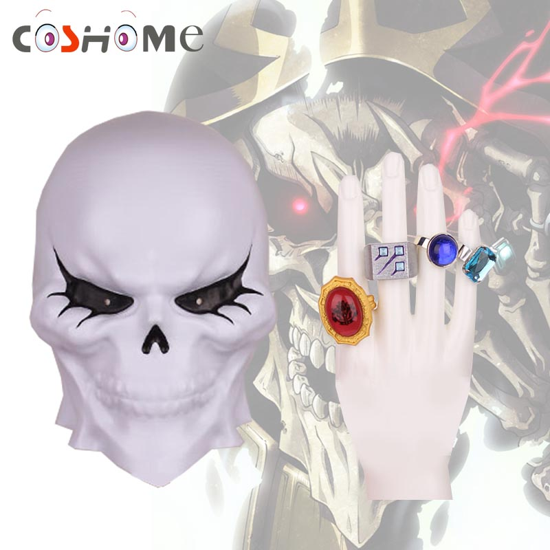 Coshome Anime Overlord Ainz Ooal Gown Cosplay Costume Accessories Cosplay Props Rings and Skull Mask
