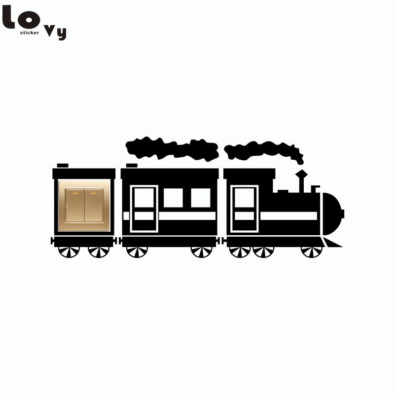 Creative Train Light Switch Sticker Funny Cartoon Train Vinyl Wall Sticker for Kid Room Bedroom Home Decor