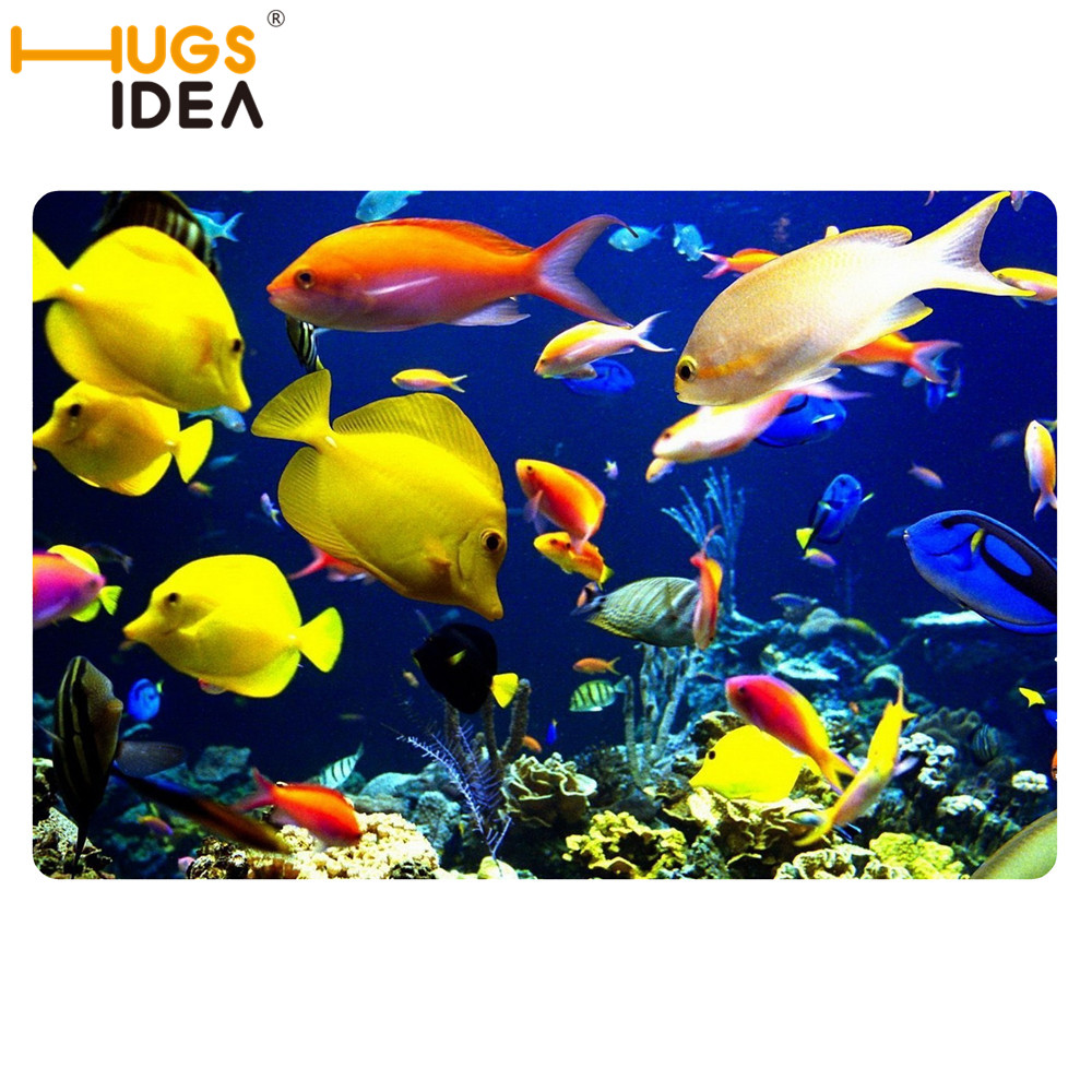 Cute Yellow Tropical Fish Sea Bath Carpets For Home Blue Door Mats And Rugs  For Kitchen