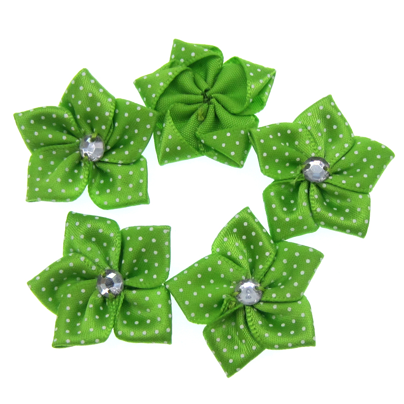 30Pcs Handmade Green Satin Dot Ribbon Flower Acryl Rhinestone Fabric  Flowers Applique Craft Wedding Decorations 3.5cm-in Artificial   Dried  Flowers from ... 2f3931bf9460