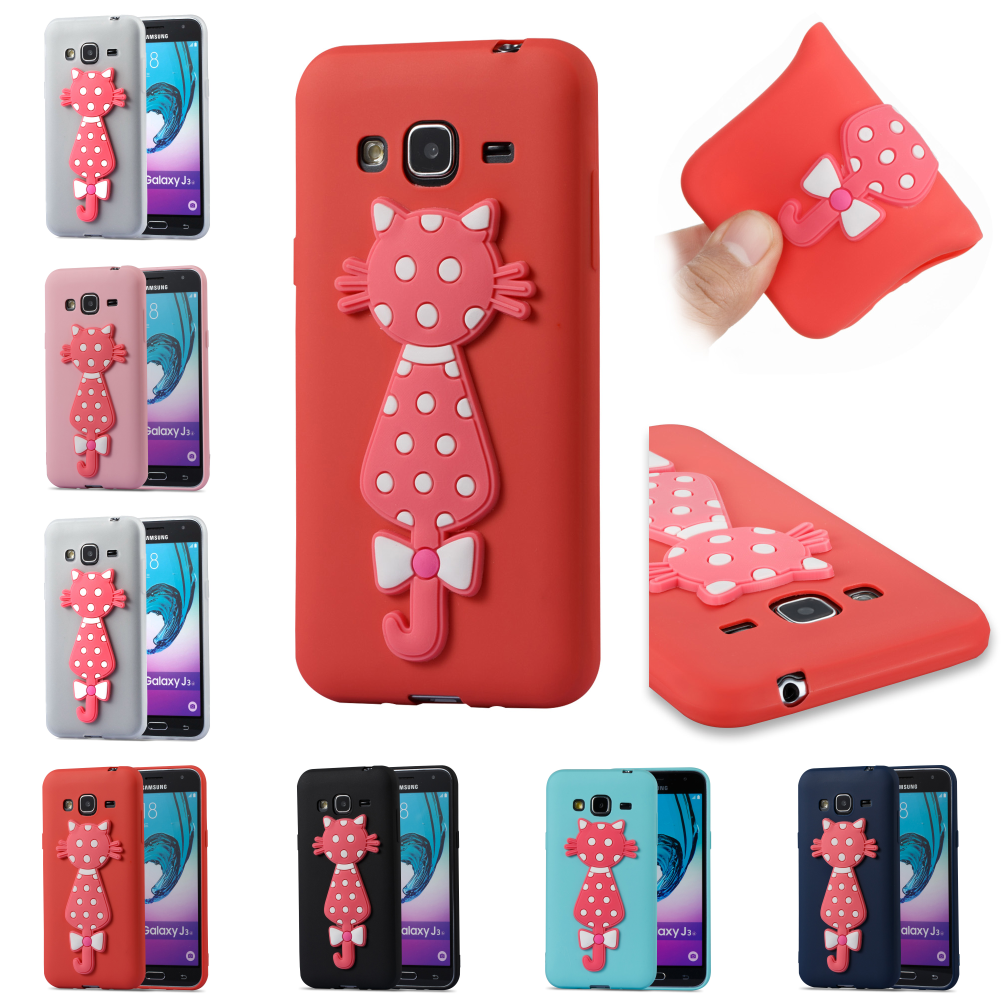 Cubierta Cover Phone Case Kryty Shell Bag For Samsung Samsug Sumsung Galax Galaxy J3 2016 j 310 J310F J310 SiliconeTPU 3D Cat
