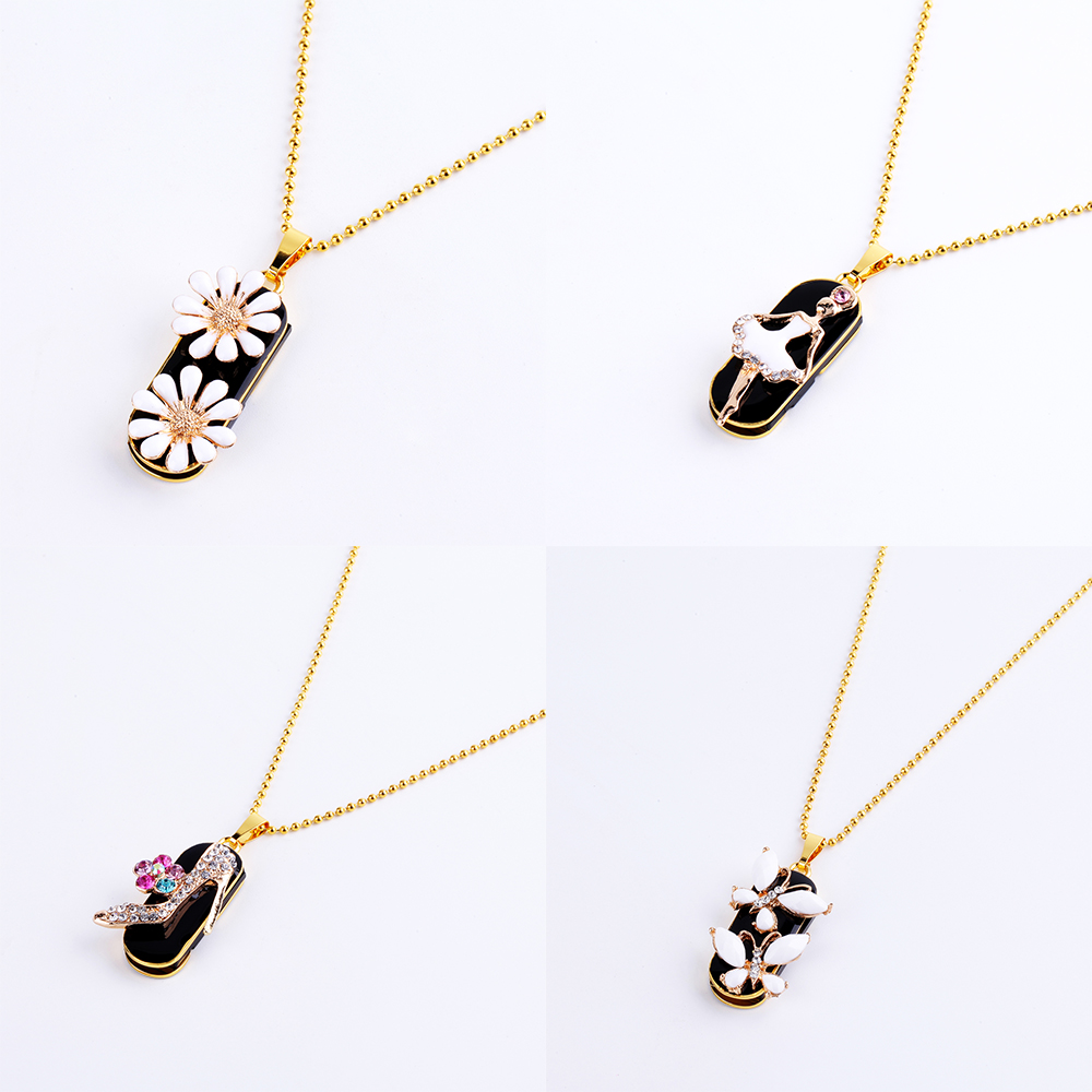 Beautiful Diamond Necklace Pendant USB-Flash Drive Metal Waterproof Memory Stick 128GB 64GB 32GB 16GB 8GB Gift For Girlfriend