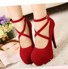 2016 Hot New  Women's Sexy Pumps Vintage Red/Black Bottom Platform Strappy High Heels Party Shoes wedding shoes 5