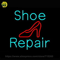 Neon Sign Turquoise Shoe Repair Sandal Neon Light Sign Neon Bulb Handcraft Glass Tube Recreation Room