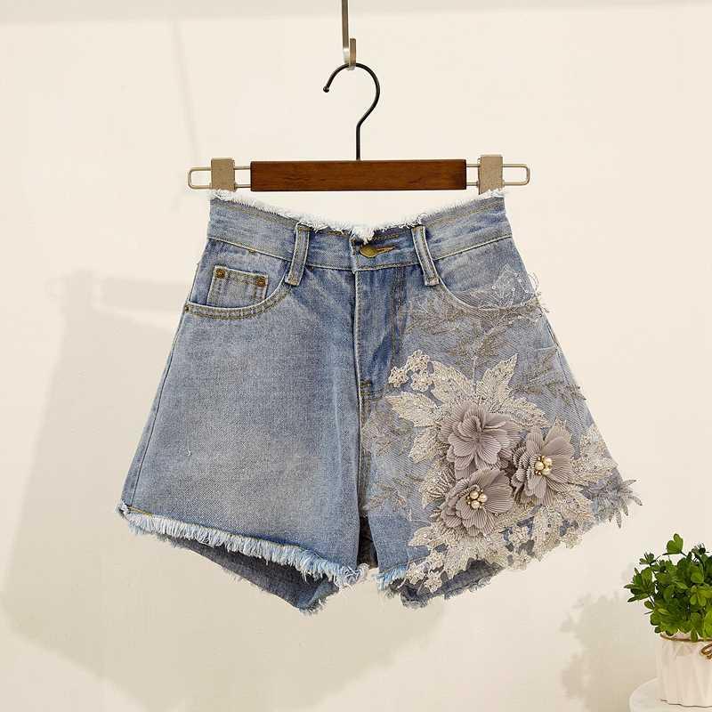 Mùa Hè 2019 3D Thêu Hoa 2 Bộ Nữ Appliques Chiếu Trúc Hạt Hoa Cotton Áo Thun + Quần Short Jean Bộ Bé Gái Ngắn quần