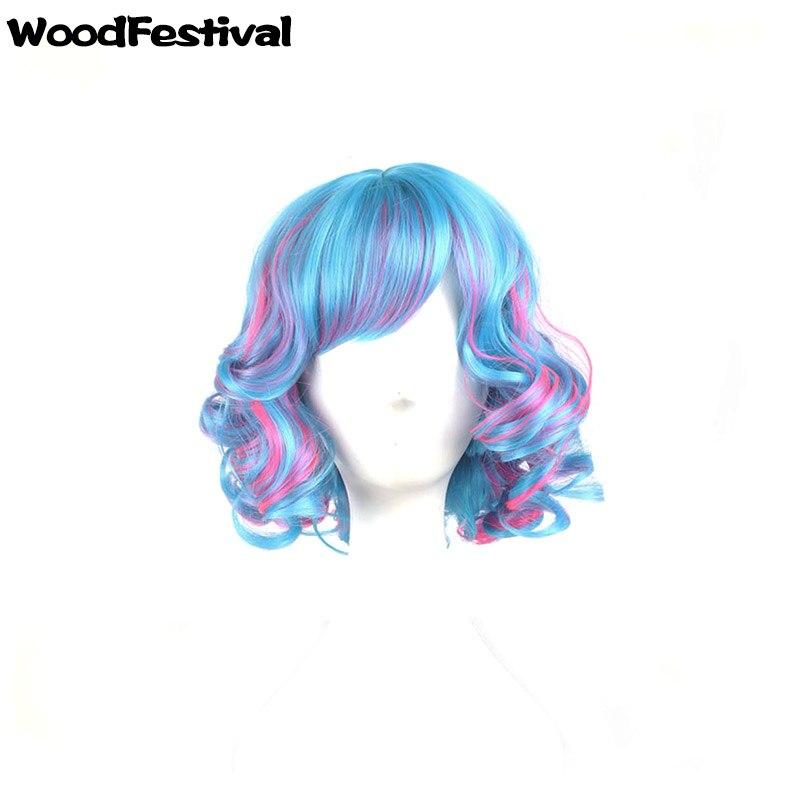 Woodfestival 12 polegada feminino mix cor céu azul branco vermelho encaracolado peruca cosplay resistente ao calor perucas curtas sintéticas