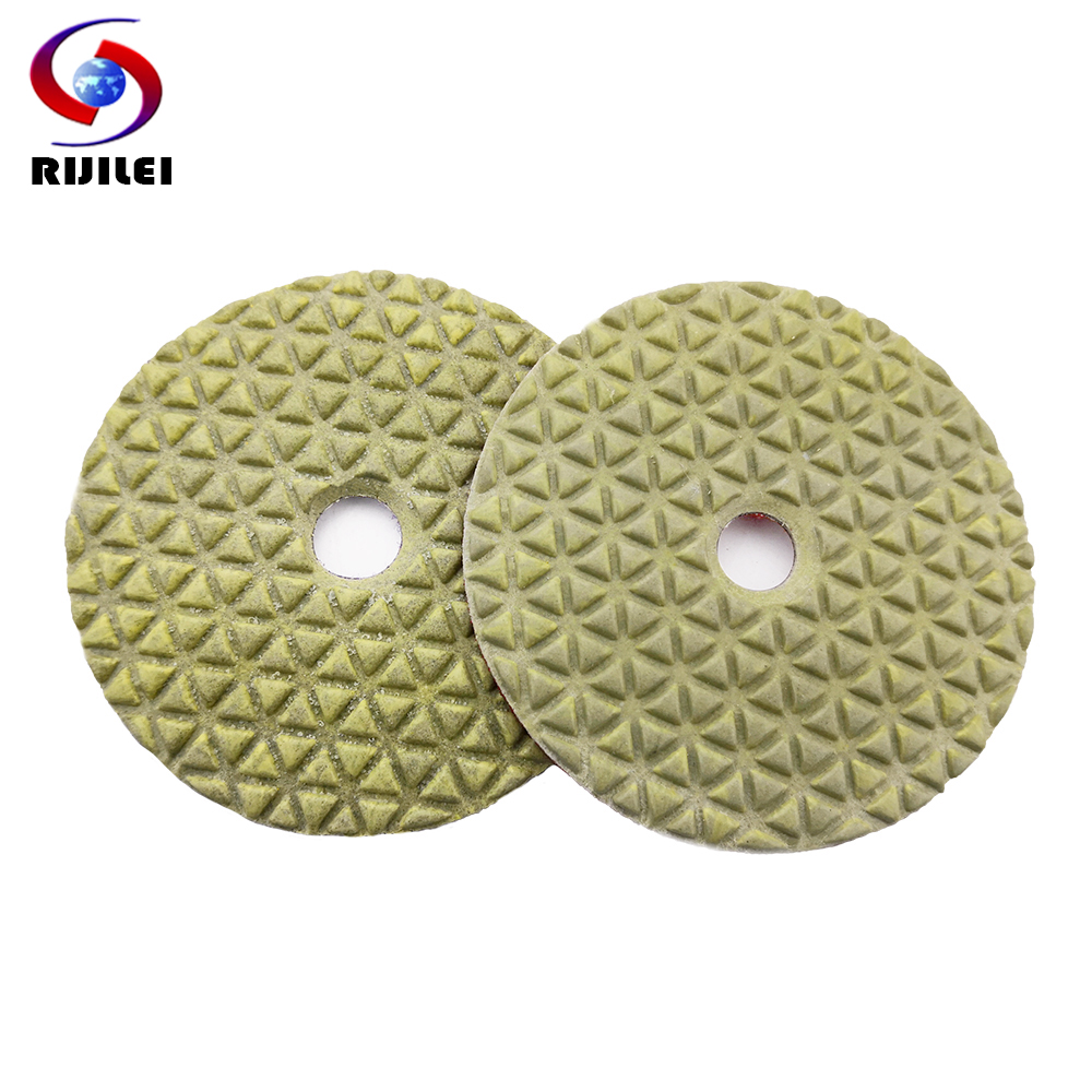 RIJILEI 10Pcs/lot 100mm Diamond Dry Polishing Pad 4 Inch Marble Polishing Pads Use For Polishing Granite Concrete Floor DPD01