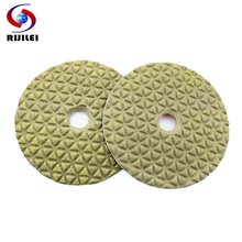 RIJILEI 10Pcs/lot 100mm diamond dry polishing pad 4 inch Marble pads Use for granite concrete floor DPD01
