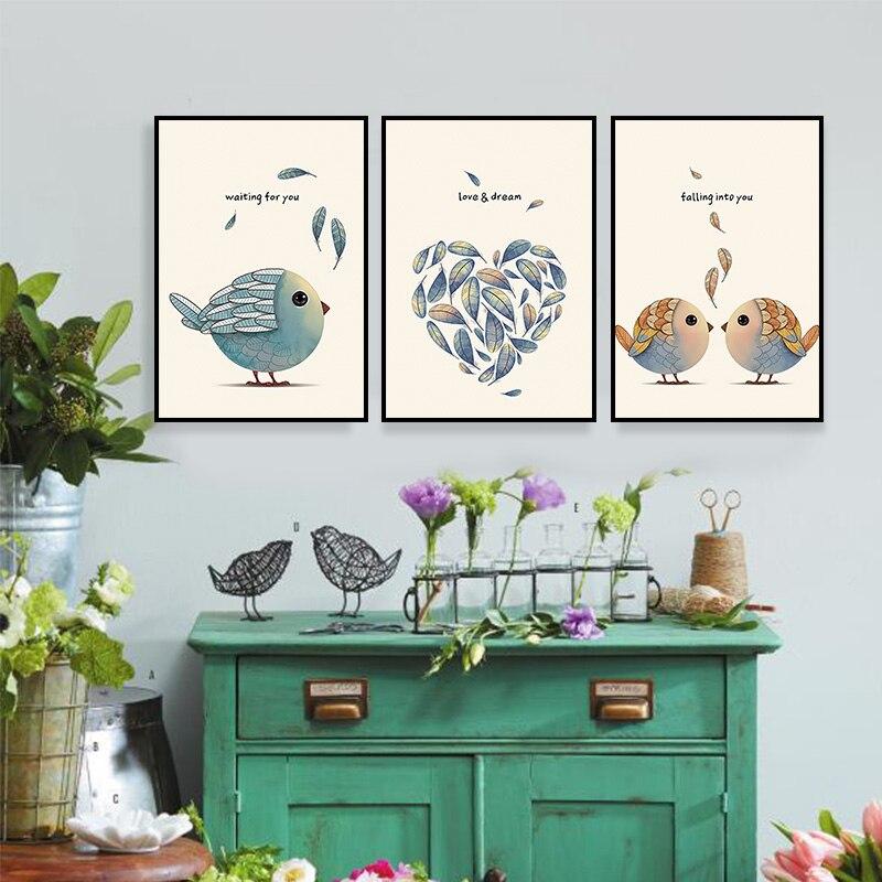 3ks ptáků abstraktní olejomalba vytištěné na plátně barevné nástěnné obrázky pro výzdobu obývacího pokoje